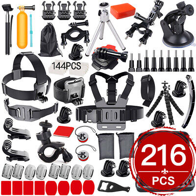 216pcs Accessories Pack Case Chest Head Floating Monopod GoPro Hero 8 7 6 5 4 3