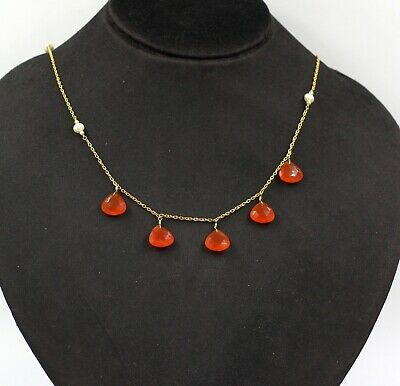 "Heart Orange Carnelian Pearl 18+2"" Wedding Necklace Solid 925 Sterling Silver"