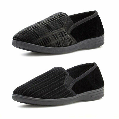 Mens Checked Comfy Full Back Slippers Black Slip On Velour Mocassin Size 6-12 UK