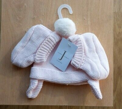Jasper Conran BRAND NEW Hand Knitted Baby Girls Hat and Boot Set Pink 0-3 months