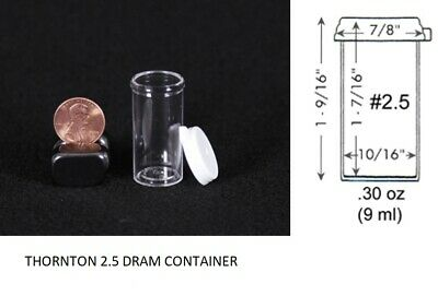 Thornton 2.5 dram clear plastic vial container small collector holder 1000x
