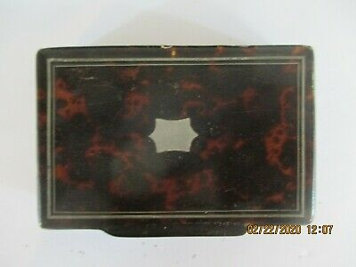 Antique Faux Tortoise Shell Snuff Box Silver Inlay