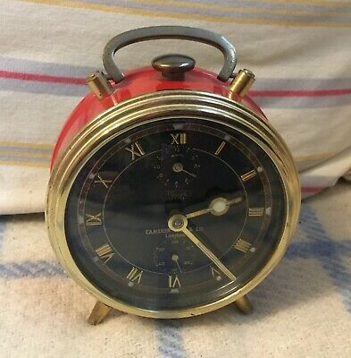 Vintage Camerer Cuss & Co. London clock Kienzle Duo Coral Red & brass Working