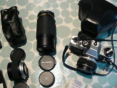 Olympus Om10 Slr - 2 Lenses - Tele Convertor - Flash - In Superb Lockable Case