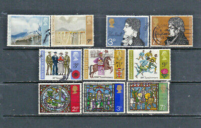 GB 1971-72 commemoratives on two cards, all used