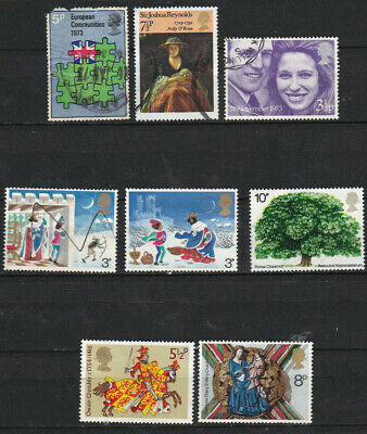 GB 1973-75 commemoratives on two cards, all used