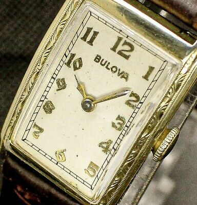Vintage mens 1936 Bulova RARE Made in USA 10K GF FANCY CASE CLEAN Art Deco Watch