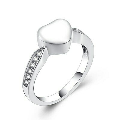 Heart White Stones Cremation Ashes Ring Urn Memorial Keepsake Funeral Jewelry