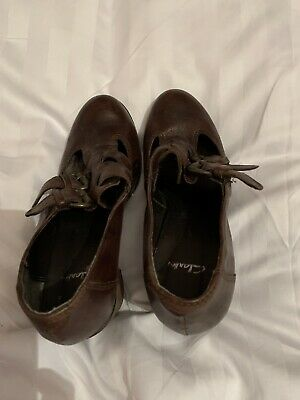 CLARKS Women's Brown LEATHER Brogue Shoes UK size 5