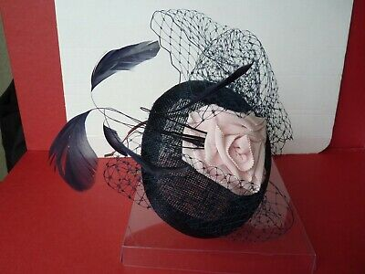 Jacque Vert- Navy & Pink Floral Wedding / Races Fascinator in Original Clear Box