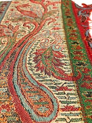 Antique Wool Jacquard Remnant 19th c ethnic paisley