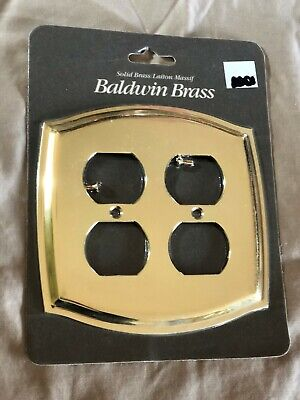 One (1) New Baldwin Brass Double Duplex Colonial Plate Cover 4781-030-CD