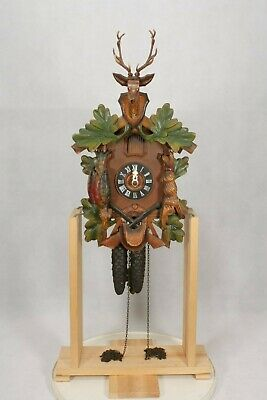 Working Black Forest Wall Hanging Stag & Game Design Cuckoo Clock.