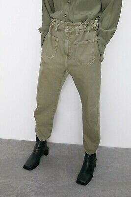 Zara Slouchy Paperbag Waist Army Green Denim Pants