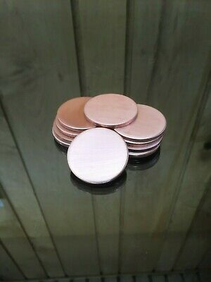 """Copper Disk Circle Blanks 1-1/2"""" Diameter 1/8'' Thick 10 Pieces"""