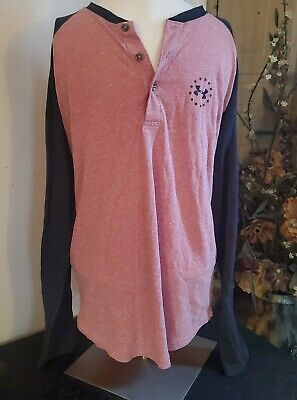 Under Armour Wounded Warrior Mens M Shirt Henley Pink Gray Long Sleeve Loose