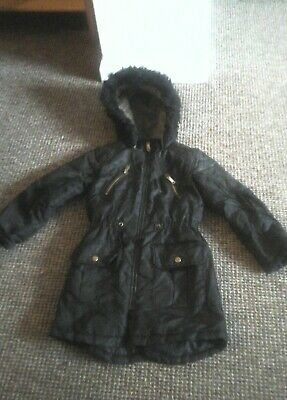 BHS Tammy Girls Black Winter Jacket Fur Hooded age 7- 8yers  122- 128cm
