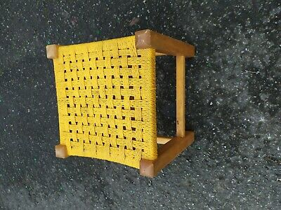 Vintage Retro Wooden Frame Woven Footstool   Yellow
