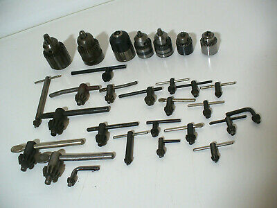 LOT Of 7 ASSORTED MIXED SIZES DRILL CHUCKS & 22 KEYS