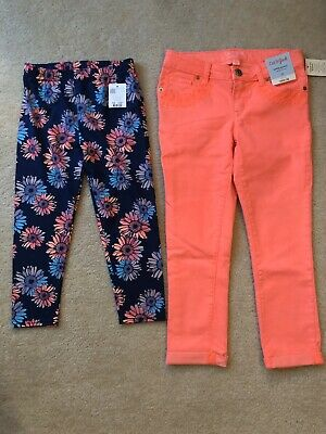 NWT Girls Pants Cat & Jack Neon Coral Jeans & Capelli Capri Leggings Size 10 NEW