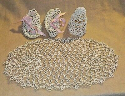 Tatted Doily, Baby Booties and Doll Hat