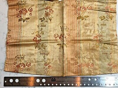 Antique Jacquard Silk Floral 18th 19th Century Remnant French
