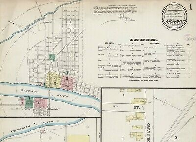 Monroe, Louisiana~Sanborn Map©sheets  with 42  maps  put on a CD~1886 TO 1898