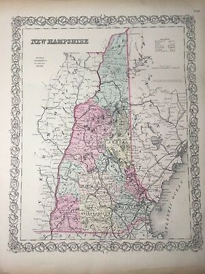 Antique 1855 New Hampshire Map Hand-Colored from Colton's Atlas - Original!