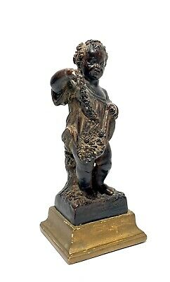 Antique French Hand Carved Terracota Painted Small Boy Holding Flowers Sculpture