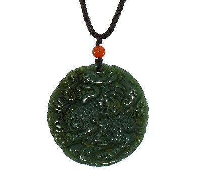 "1.9""China Certify Nature Hetian Nephrite Jade Fortune Kylin Hand Carved Necklace"