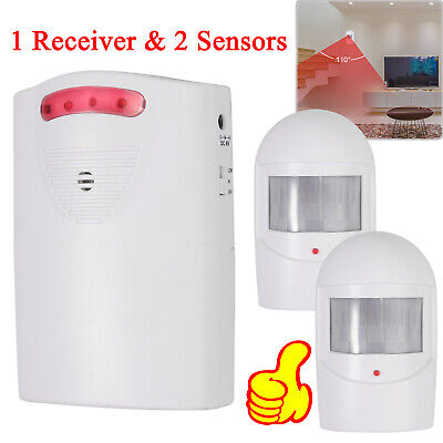 Wireless Driveway Alarm System PIR Motion Detector Alert 2 Sensor+Receiver NEW