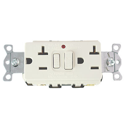 Hubbell Gf20Lala Commercial Grade Gfci Receptacle, 20A, 125V, Light Almond