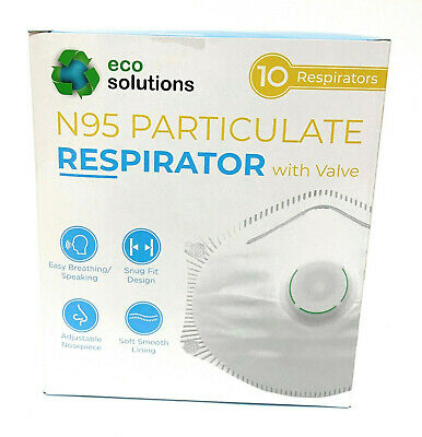 Eco Solutions N95 Particulate Respirator Mask Exhalation Valve 10 masks US STOCK