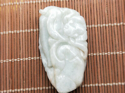 100% Chinese Hand-carved Delicate and natural Jadeite jade bat Ruyi pendant