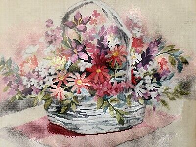 GLORIOUS BOUQUET FLORAL BASKET Needlepoint Canvas Shabby Chic Dimensions 2336