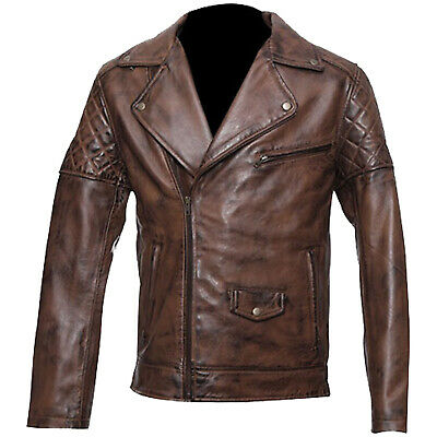Men's Brando Biker leather Brown Jacket Classic Vintage Motorcycle All Sizes