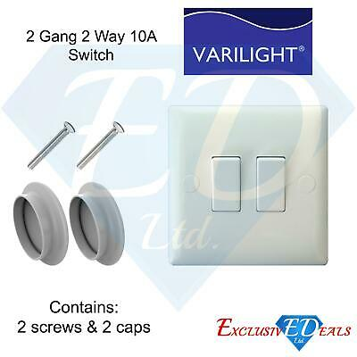 Light Switch 2 Gang 2 Way White Plastic 10 Amp, Double Light Switch With Screws