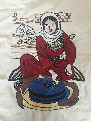 Hand Made Palestinian Folk Cross Stitch Art Embroidery Home Decor Bedouin Women