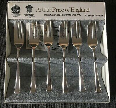 Arthur Price Of England Set Of 6 Pastry Forks Silver Plated