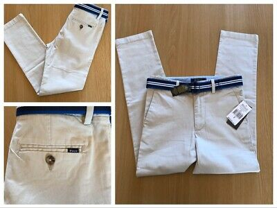 BNWT Boys Age 6-7 yrs (Sz 8) Polo Ralph Lauren Beige Super Skiny Belted Chinos