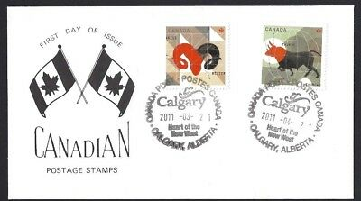 Canada   # 2449 & 2450    Signs of Zodiac Special Cachet   New 2011 Unaddressed