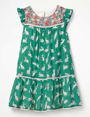 Dress Ex Mini Boden Floral Girls 3-4 5-6 7-8 9-10 Party Special Occasion Appliqu