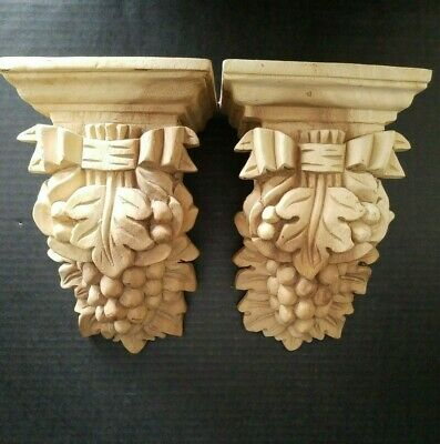Ornate Wood Curtain Rod Holder Pair or Wall Sconce Unfinished WOW!