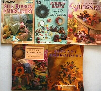 5 Ribbonry Pattern Books Ribbon Roses Embroidery Silk Elegant Flower Ribboncraft