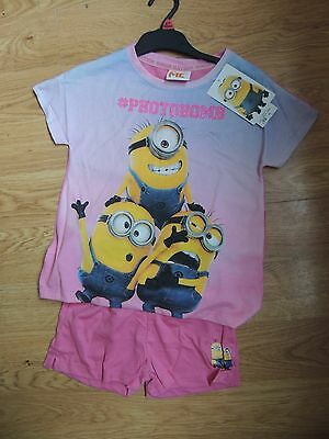 Brand New & tagged Age 6-7 minion girl's summer pjamas sleepwear
