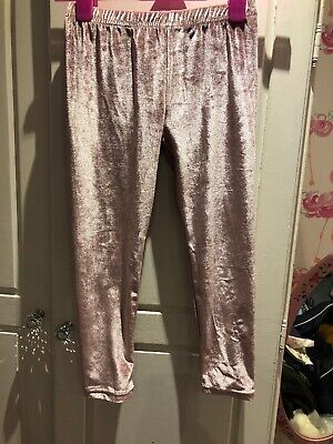 Crafted Girls Pink Velvet / Velour Leggings Age 7 / 8 Worn Twice