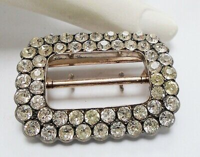 Superb large antique Victorian sterling silver & diamond paste buckle