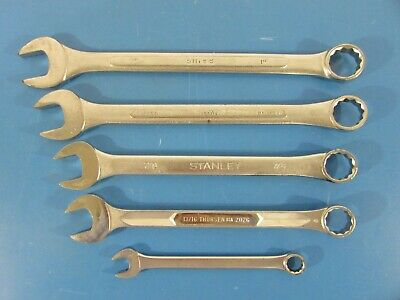 """Lot of 5 SAE 12-Point Combination Wrenches (1/2"""" through 1"""") Various Brands"""