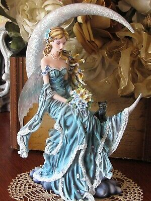 Nene Thomas WIND MOON Fairy Figurine with black cat by Pacific Giftware NEW