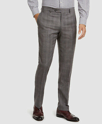 $369 Tommy Hilfiger Mens 34W 30L Gray Black Plaid Modern Fit Stretch Dress Pants